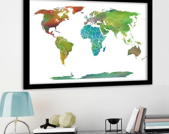 Large World Map Etsy - Earth map countries