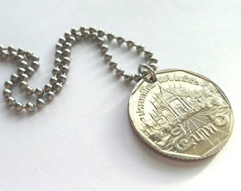 Foreign Coin Necklace featuring Architecture  - Stainless Steel Ball Chain or Key-chain