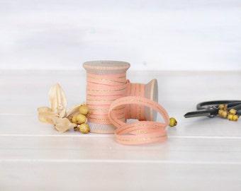 "Peach Cotton Ribbon with Gold - 5, 20 or 109 Yards - Ribbons - 1/4"" Wide - Peach Cotton Ribbon - DIY Etsy Weddings - Metallic Peach Ribbon"