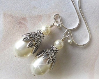 Lacey Bridal Pearl Earrings, Vintage Style Bridesmaid Earrings, Antique Style White or Ivory Pearl Drop Earrings, Wedding Jewelry, Sterling