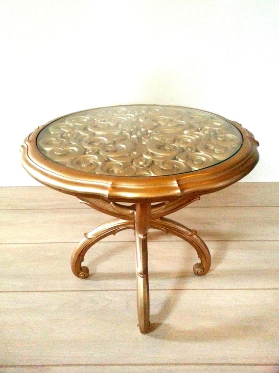 Gold side table end table vintage rare by luckyhomefinds for Round gold side table