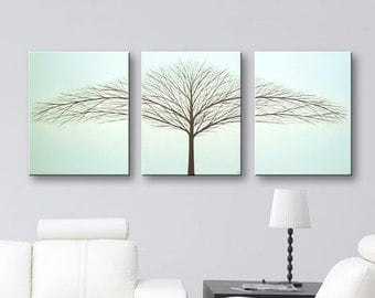 "Tree Art Paintings Canvas Wall Art Tree of Life Painting Light Blue Wall Decor Home Decor Modern Art Tree 48""x20"" Original Painting"