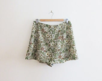 90s Green Floral Skort Pariscope Made in Canada Women's US Size 8-10