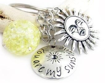 Celestial Keychain, Car Accessories, Sun Keychain, Sun Key Chain, Beaded Keychain, Love Keychain, Sunshine Keychain, Stocking Stuffer, KY33
