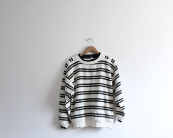 Black and White Striped 80s Sweatshirt