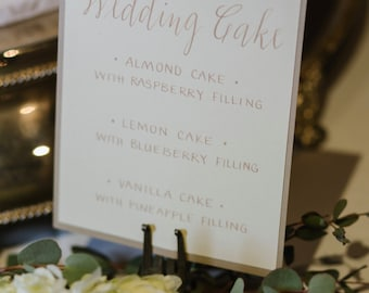 Custom Hand Calligraphy Wedding Signs - Card Stock Colors of Choice - Hand Calligraphy Ink Color of Choice - Prices Starting at: