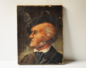 Antique Authentic Richard Wagner Portrait - Oil On Canvas Painting - Unknown Artist