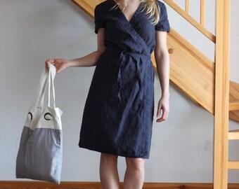 Navy linen dress