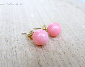 Pink Coral Earrings, Coral Stud Earrings, Coral Bridal Jewelry, Coral Bridesmaid Earrings, Genuine Coral, Real Coral Jewelry, Simple Studs