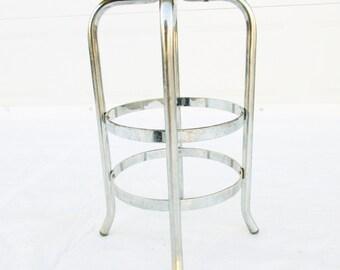 A 1960s Round Top Chrome Stool - Yellow Vinyl Seat - Kitchen Stool  - All Metal Base - Retro Style - Ball Feet