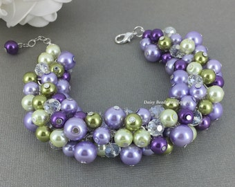 Olive and Purple Bracelet, Lilac and Olive Bracelet, Bridesmaid Bracelet, Green and Purple Cluster Bracelet, Bridesmaid