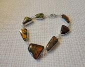 ammonite silver bracelet ,  shells silver bracelet , women silver bracelet , fossil jewelry , rare gemstone , cabochon silver bracelet