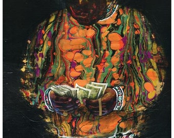 "Biggie Art Print -  Wall Art - Wall Decor - Art Poster - ""Rollin in Paper"" by Black Ink Art"