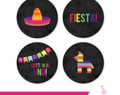 Fiesta Party Cupcake Toppers - Fiesta Party Circles - Fiesta Birthday Cupcake Toppers Printable - Fiesta Party Printables