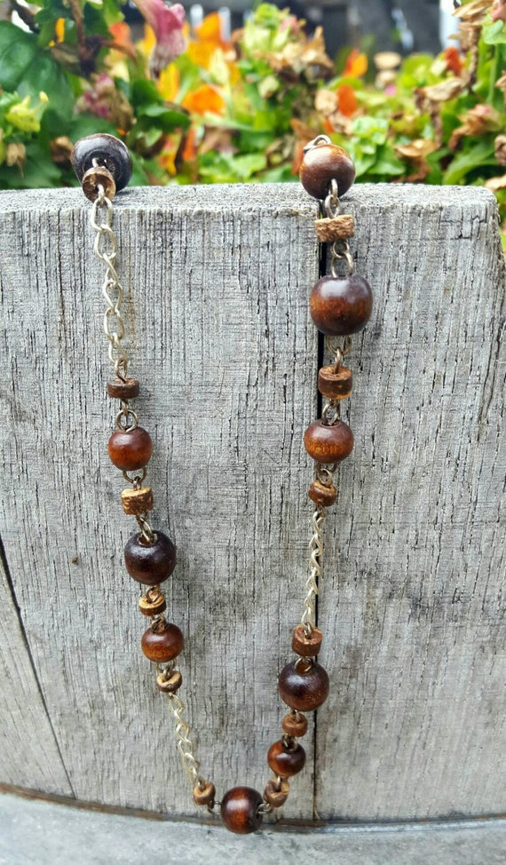 Wood Beaded Necklace and Matching Earrings, Brown Chain Necklace