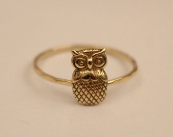 Owl Ring, 14k Owl Ring, 14k gold owl ring, 14k stackable ring, 14k knuckle ring, 14k thumb ring, 14k gold ring, 14k stack ring