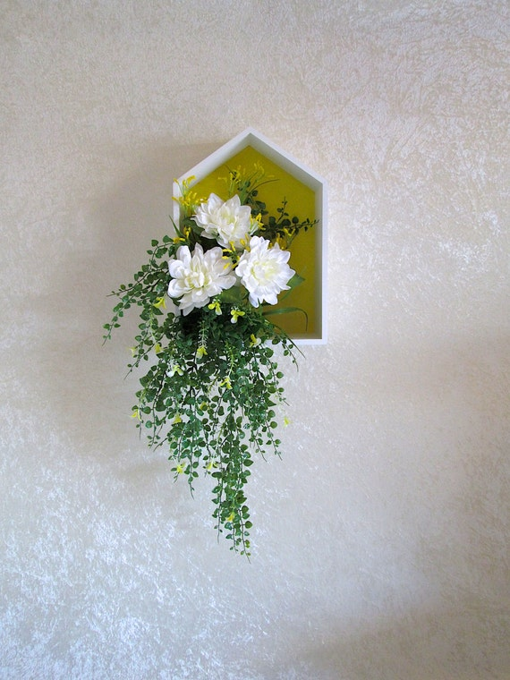 Wall Sconces For Greenery : Silk Flower Arrangement in a Wall Decor Box by AlwaysInBloomFloral