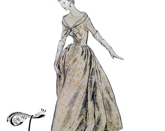 Vogue special design evening gown wedding dress pattern number S-4632, Bust 34 inches, 50s vintage sewing