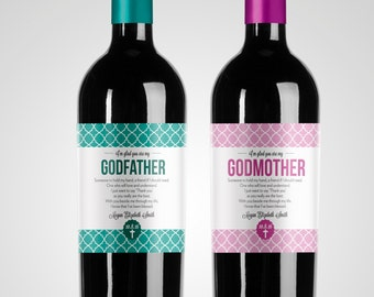 Will You Be My Godmother // Godfather // Godparents // Christening Gift // Baptism Gift // Custom Wine Label
