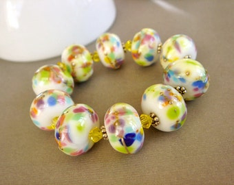 SRA Lampwork Beads, White Glass Beads, Colorful Lampwork Glass Beads, Destash Lampwork - 10 beads