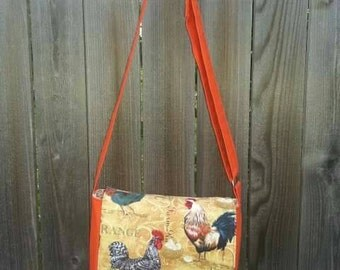 Small Messenger Bag - Chickens Roosters Tote Bag