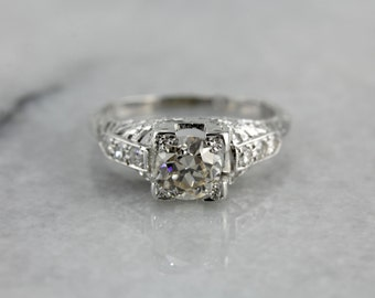 Art Deco Diamond Engagement Ring Featuring a Champagne Old Mine Cut Diamond FHJ407-R