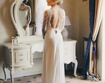 """A-line Lace Wedding Dress with Open Back - """"Natalia"""", Romantic and Classic bridal dress, Rustic bridal gown, Long Sleeve Wedding Dress"""