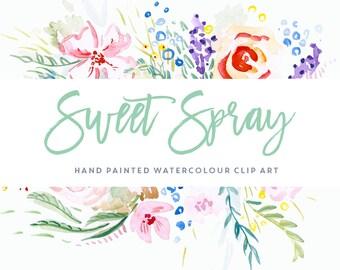 Watercolour Flower Clipart - Sweet Spray
