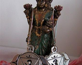 Om Ajna Chakra earrings on long wire, Om silver Ajna mandala earrings, Peace Om earrings