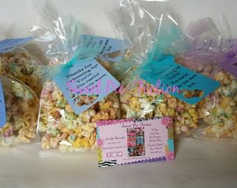 12-Mermaid Popcorn with Tags, Mermaid Chocolate Drizzled Popcorn Favor Bags, Under the Sea Popcorn Popcorn Treats Bubble Guppies Popcorn