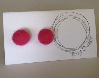 Pretty in Pink Felted Pearl Earrings