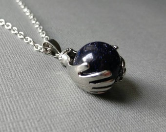 Galaxy in Hand, Blue Goldstone and Silver necklace