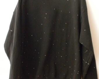 Sweatshirt, Black Crewneck Sweatshirt, crewneck sweatshirt, Star sweatshirt, Sweater, XLarge sweatshirt, Star Sweatshirt, Galaxy sweatshirt