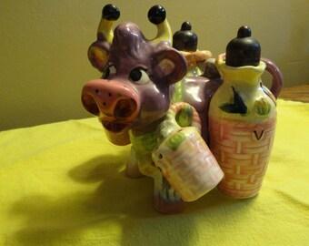 Thames Purple Cow 5 Piece Salt, Pepper, Oil, & Vinegar set