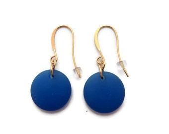 Royal Blue Earring, Blue Sea Glass Earring, Bright Blue Earring, Cobalt Blue Dangle Earring, Blue Beach Glass Dangle,  Recycled Glass