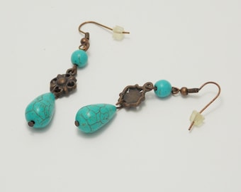 Gift/for/graduate gifts/for/her teardrop earrings flower earrings copper jewelry turquoise earrings chandelier earrings gemstone earrings