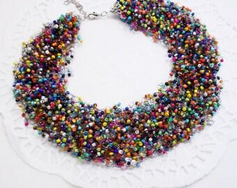 Bib necklace rainbow jewelry statement necklace multi color jewelry funny necklace fashion jewelry color necklace wholesale necklace jewelry