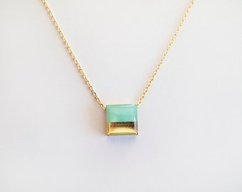 Turquoise Gold  Necklace - Modern Necklace - Gift For Her