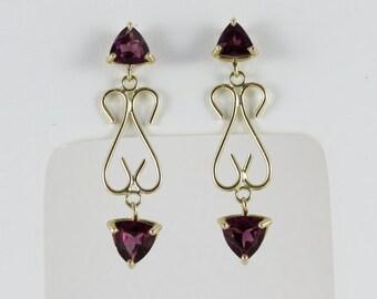 14k Yellow Gold Amethyst Dangle Drop Earrings