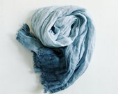 Pure Linen Scarf / Dirty Blue Scarf / Natural Linen Shawl / Hand Dyed Linen Scarves / Woman Fashion Accessories / Flax Beach Scarf