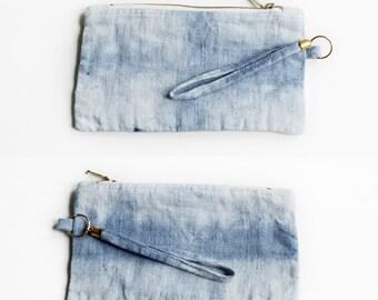 Linen Pouch / Natural Linen Purse / Hand Dyed Linen Clutch / Woman Fashion Accessories / Flax Small Pouch / Pencil Case / Zipper Pouch