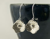 poppy earrings in silver, silver earrings, flower earrings, poppies, summer earrings