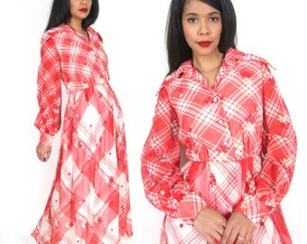 Vintage 60s 70s Red White Plaid Checkered Gingham Floral Embroidered Maxi Dress