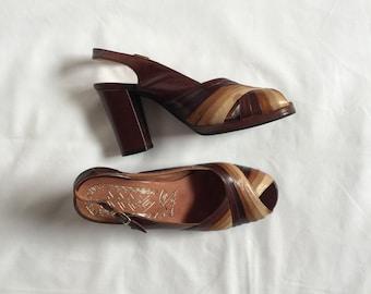 1970s leather platform heels