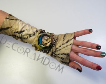 fabric bracelet Brindle, Brindle, Brown, beige fabric bracelet with flower, fabric flower, gold flower with Pearl, Brindle cuff bm3