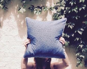 Denim Blue Animal Print Cushion Cover