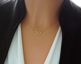 Tiny Infinity Necklace,  Friends, Sister, Birthdays, Weddings,  24k Gold Over Sterling Silver