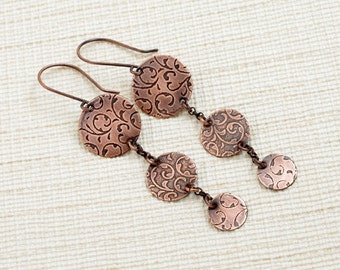 metalwork earrings / etched copper jewelry / long dangle earrings