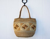 VINTAGE 1970s sisal straw diamond pattern woven market tote | Ethnic straw market bag | Striped sisal woven tote bag