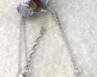 Round Faceted Pale Blue Topaz Pendant Necklace with Fine Argentium Silver Chain with Silver Round and Twisted Tube Beads